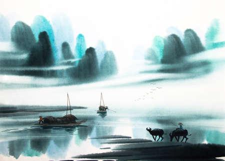 Paysage chinois peinture à l'aquarelle Banque d'images - 55665224