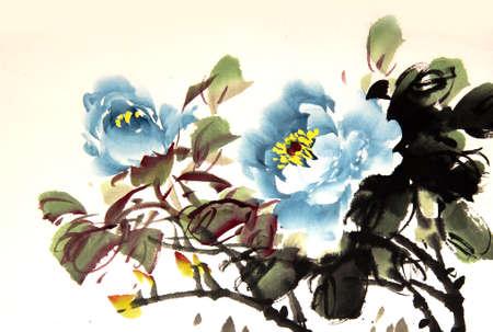 Chinese pioen inkt tekening