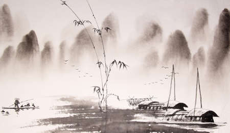 japanese paper art: Chinese landscape ink painting