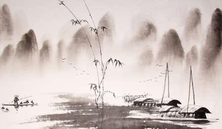 Chinese landscape ink painting Reklamní fotografie - 55665124