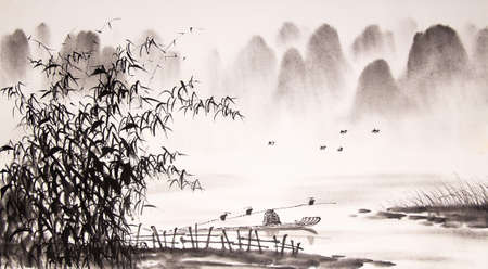 Pintura de tinta paisaje chino Foto de archivo - 55665257