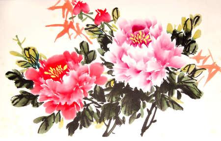 중국어 모란 잉크 드로잉 스톡 콘텐츠