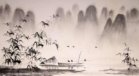 landschaft: Chinesische Landschaft Tuschemalerei Lizenzfreie Bilder