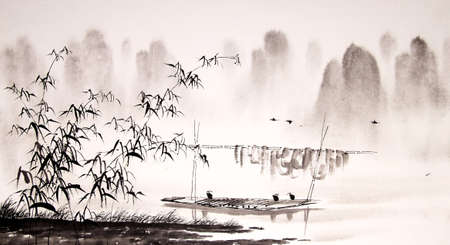 Pintura de tinta paisaje chino Foto de archivo - 55665282