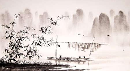 Pittura a inchiostro paesaggio cinese Archivio Fotografico - 55665282