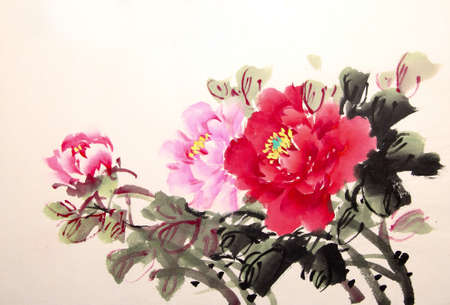 flores chinas: dibujo en tinta china de peonía