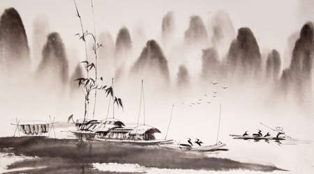 chinese bamboo: Chinese landscape ink painting