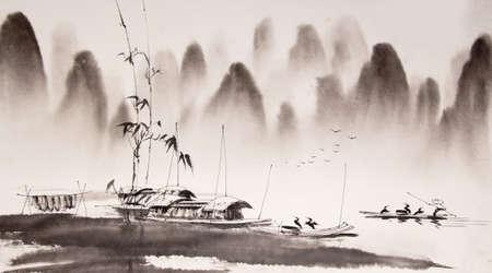 Peinture à l'encre chinoise de paysage Banque d'images - 55665374