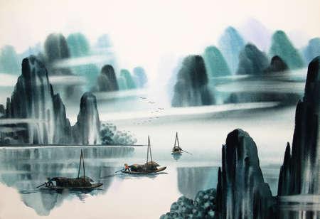 Chinesische Landschaft Aquarellmalerei Standard-Bild - 55665377