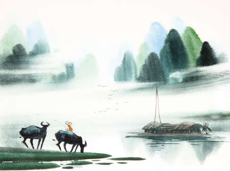 jezior: Chiński krajobraz akwarela