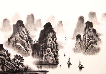 Chinese landschap aquarel