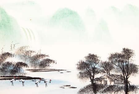 Chinese landscape watercolor painting Banco de Imagens - 55873630