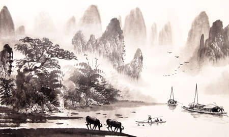 Chinese landscape watercolor painting Фото со стока - 55873629