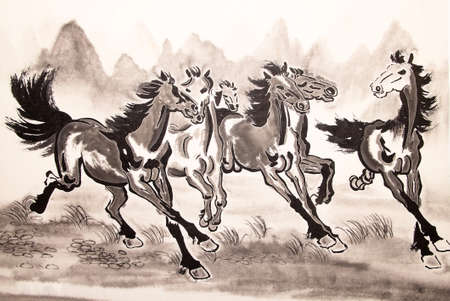 painting style: Chinese ink horse drawing