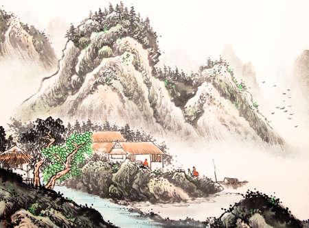 중국 풍경 수채화 그림 스톡 콘텐츠 - 55873633