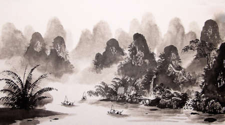 Chinese landschap aquarel Stockfoto - 55873635