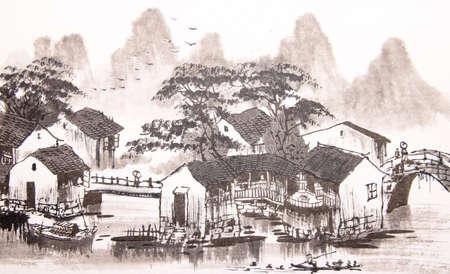 중국어, 드로잉 물 마을 스톡 콘텐츠