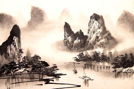 Chinesische Landschaft Aquarellmalerei Standard-Bild - 55873638