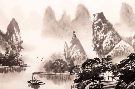 japanese paper art: Chinese landscape watercolor painting