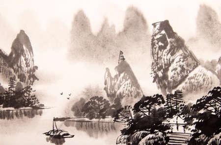 Paysage chinois peinture à l'aquarelle Banque d'images - 55873639