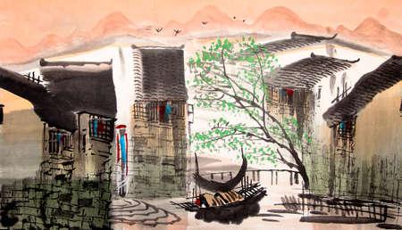water stad Chinese tekening
