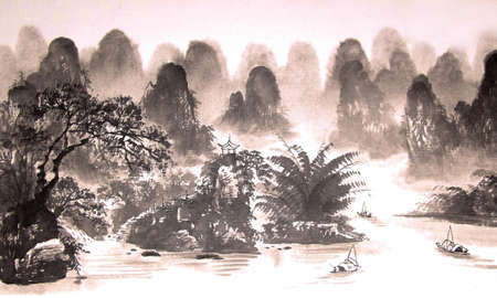 Chinese landscape watercolor painting photo