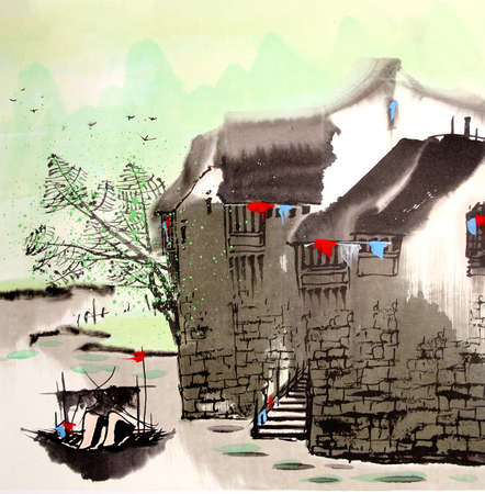 town: Chinese drawing water town
