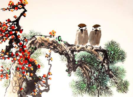 pajaro dibujo: chino pájaro pintura de la tinta y el árbol Foto de archivo