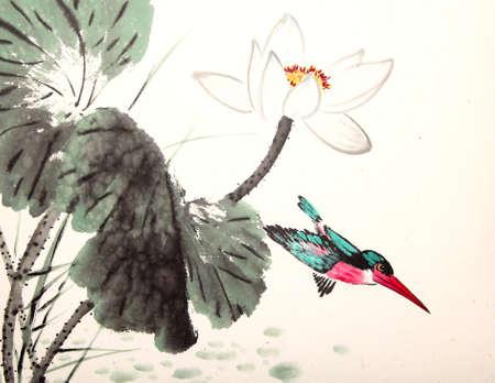 잉크 연꽃 그림 손으로 그린 새