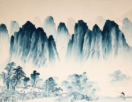 Chinese landscape watercolor painting. Stock Photo