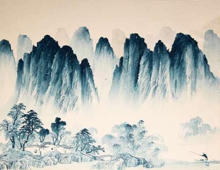 táj: Kínai táj akvarell Stock fotó