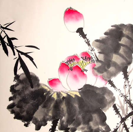 ink lotus painting hand drawn Stock Photo