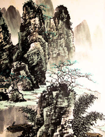 chinese traditional house: Chinese landscape watercolor painting