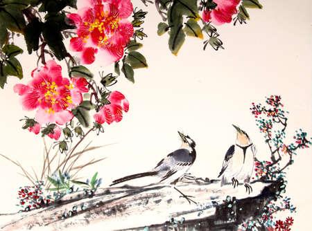 Chiński malarstwo tuszem ptaków i drzewa