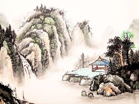 Pittura ad acquerello paesaggio cinese Archivio Fotografico - 55873674