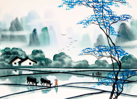 farm landscape: Chinese landscape watercolor painting
