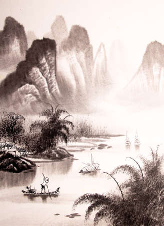 Chinese landscape watercolor painting Imagens - 55873676