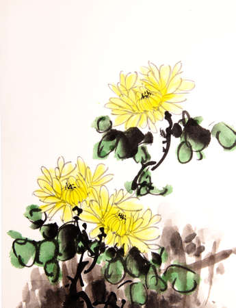 chinese watercolor: Chinese ink mum drawing