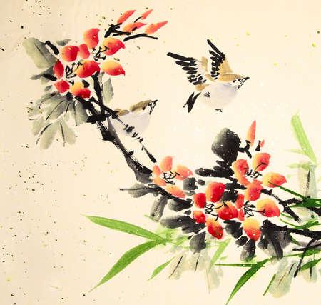 中国水墨画絵画鳥と植物 写真素材