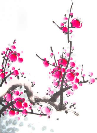 Chinesische Aquarell Kirschmalerei Standard-Bild - 56021249