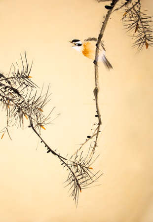 Chinese ink painting bird and plant Banco de Imagens - 55968161