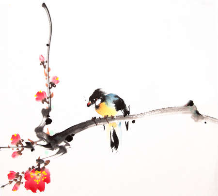ink: Chinese ink painting bird and plant