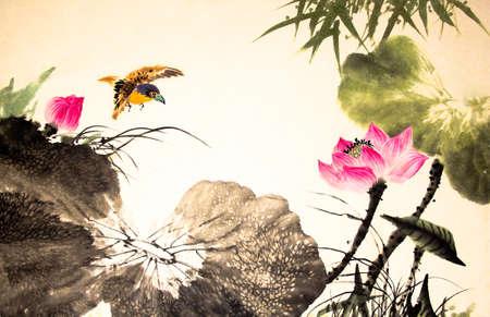 잉크 연꽃 그림 손으로 그린 스톡 콘텐츠