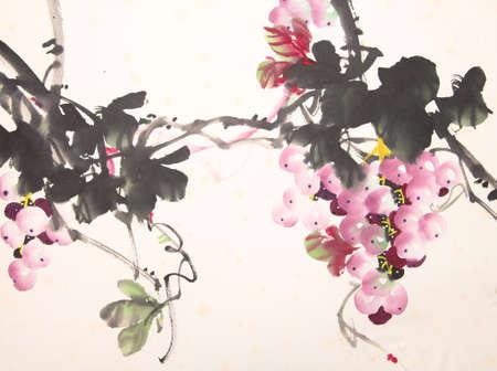 black grape: Chinese ink grape drawing