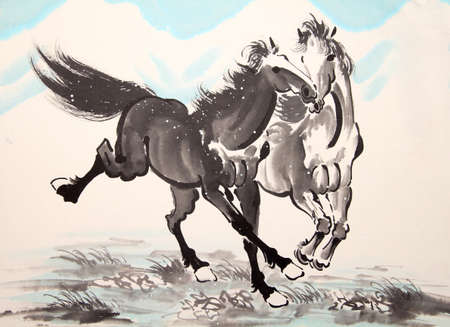 ink drawing: Chinese ink horse drawing