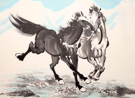 Chinese inkt paardtekening Stockfoto