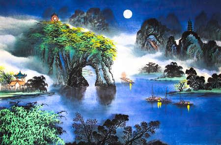 Paysage chinois peinture à l'aquarelle Banque d'images - 56021255