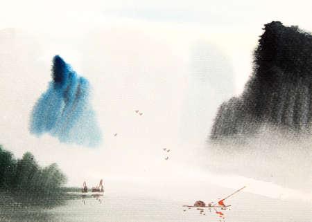 Paysage chinois peinture à l'aquarelle
