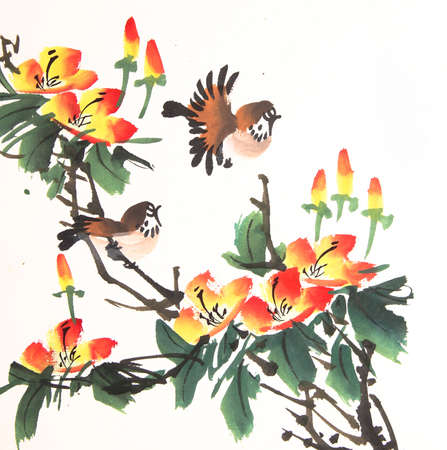 chinese watercolor: Chinese ink painting bird and plant