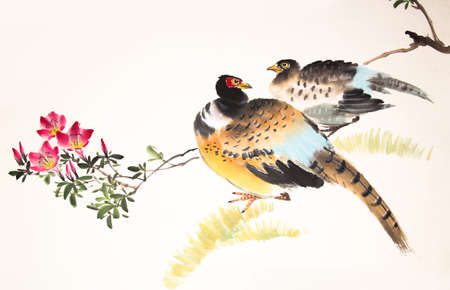 Chinese ink painting bird and plant Banco de Imagens - 55968164